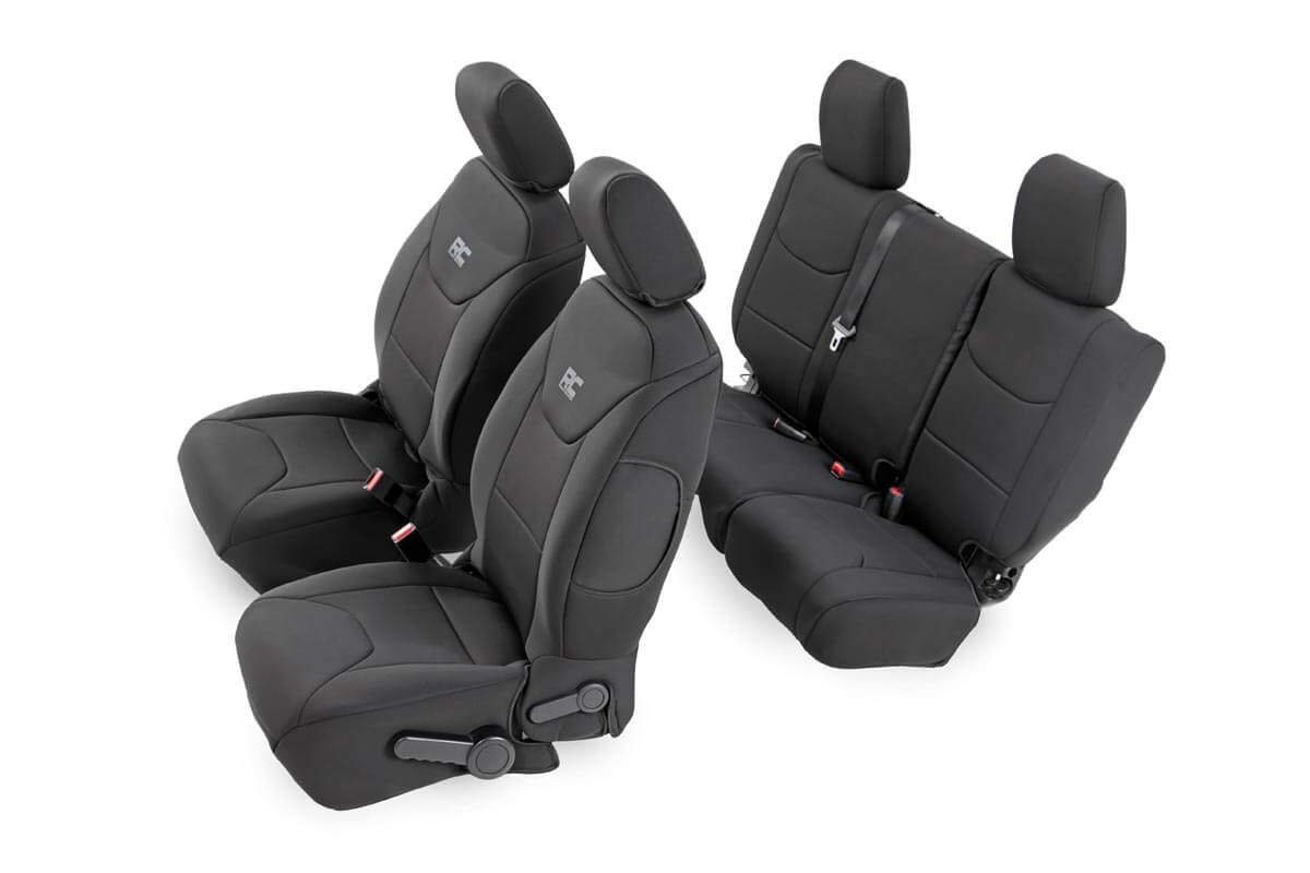 Rough Country 91002A Black Neoprene Seat Cover (Front/Rear) for 08-10 Jeep Wrangler Unlimited JK