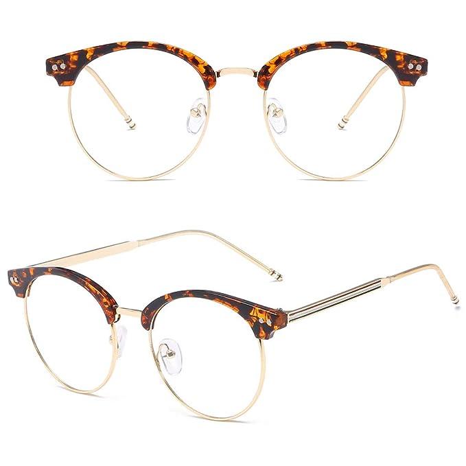 c3236faaa882 VEVESMUNDO Lentes Claro Gafas Anteojos Retro Metal Medio Marco Semi Al Aire  Montura Sin Dioptría Con