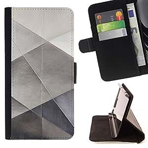 For Samsung ALPHA G850 Case , Sheet Metal Papel Plata Polígono patrón- la tarjeta de Crédito Slots PU Funda de cuero Monedero caso cubierta de piel