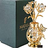 Matashi 24K Gold Plated Crystal Studded Flower Ornament in a Vase with...
