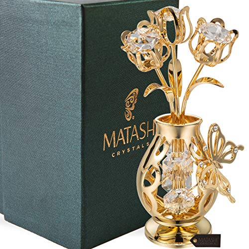 Matashi 24K Gold Plated Crystal Studded Flower Ornament in a Vase with Decorative Butterfly, Forever Gifts for Her Anniversary, Valentine's Day, Mother's Day (Crystal Personalized Vase)