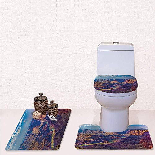 (Comfort Flannel 3 Pcs Bath Rug Set,Contour Mat Toilet Seat Cover,Aerial View of Epic Grand Canyon Activity of River Stream Over Rock Plateau Print with Blue Tan,Decorate Bathroom,Entrance Door,kitche)