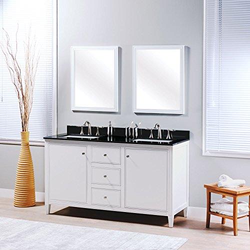 MAYKKE Cecelia 60'' Bathroom Vanity Set in Birch Wood White Finish | Modern Double Floor Mount Cabinet with Countertop, Backsplash in Black Granite and Ceramic Undermount Sink in White | YSA1336001 by Maykke