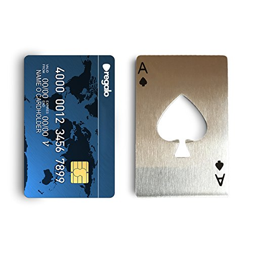credit card beer bottle opener stainless steel casino ace playing cc size that fits in wallet. Black Bedroom Furniture Sets. Home Design Ideas