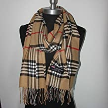 Camel_NEW Scarf SCOTLAND WOOL Big Check Loop Plaid Unisex - SM02 (US Seller)