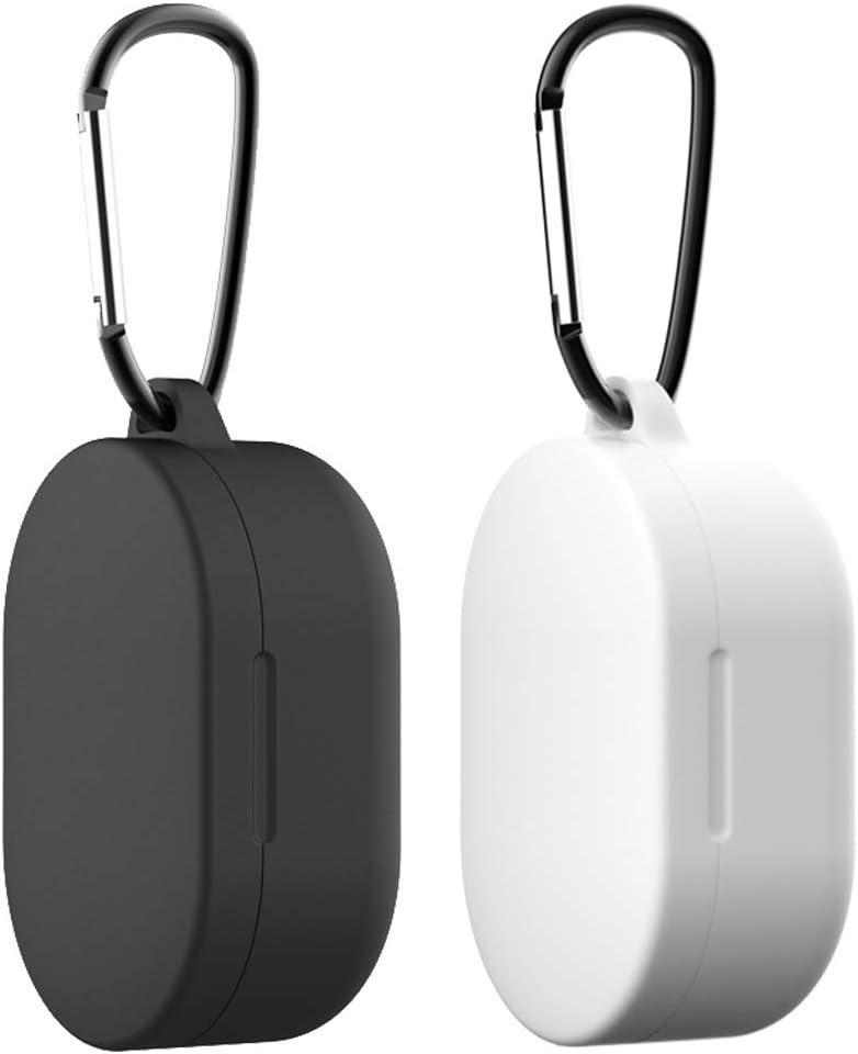 Yoowei [2-Pack] Funda para Xiaomi Mi Airdots TWS Protective Sleeve, Protectora de Silicona Líquida con Gancho de Alpinismo para Airdots TWS Auriculares Bluetooth (Negro & Translúcido)