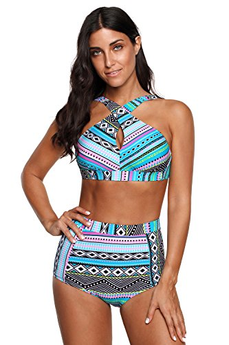 - High Waisted Floral Bikini Front Cross Blue Tribal Plus Size Swimwear-KJX005-BE5