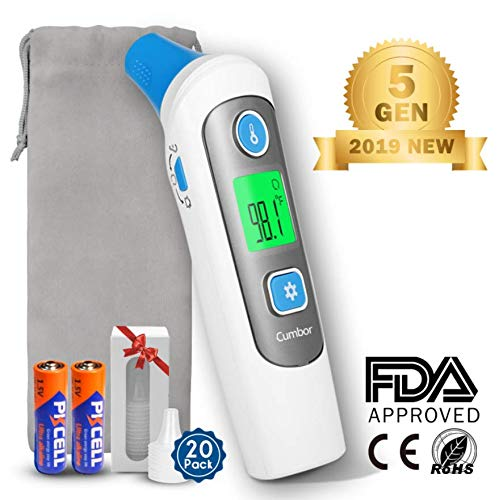 Cumbor Baby Thermometer -Forehead and Ear Thermometer for Fever -Medical Digital Infrared Thermometer for Kid, Infant, Toddler and Adult?hygienic Lens Filters Included?FDA Approved