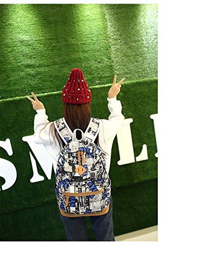 Minetom Lona Backpack Mochilas Escolares Mochila Escolar Casual Bolsa Viaje Moda Pintada Estilo Graffiti