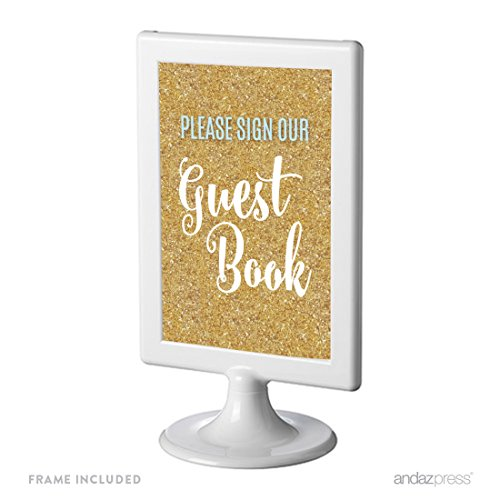 Andaz Press Signature Baby Blue, White, Gold Glittering Anniversary Party Collection, Framed Party Sign, Please Sign Our Guestbook, 4x6-inch Double-Sided, 1-Pack ()