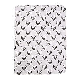 Soft Muslin Newborn Baby Blanket Bedding Blanket Wrap Swaddle Blanket Bath Towel (Deer Print(no Headband))