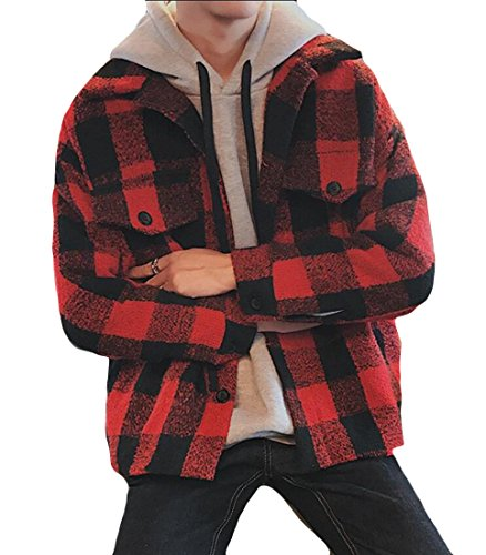 amp;W Outwear Plaid Jackets Trench Red M Print Winter Men's Wool amp;S BZwwxq5AT
