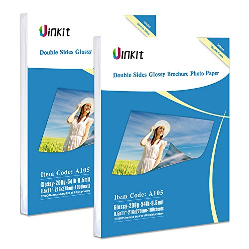 (Double Sided Glossy Photo Paper - 200 Sheets Uinkit 8.5x11 Inches 9.5Mil 200Gsm For Inkjet Paper Printing Only)