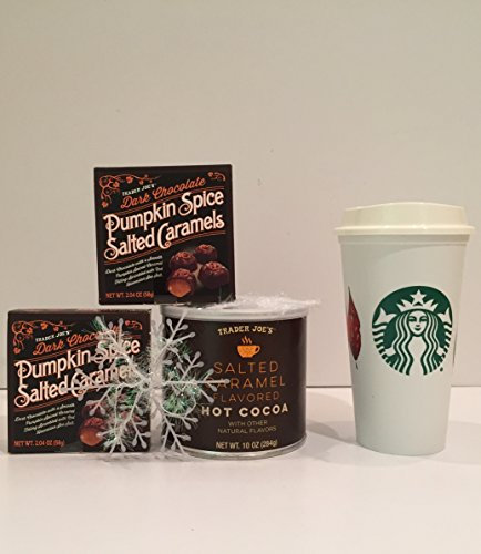 Trader Joes's Salted Caramel Hot Cocoa Mix, Pumpkin Spice Salted Caramel Candy And a Starbucks Reusable 2017 Fall Leaf To-Go Grande Tumbler/Cup, Plus a Free Set of 5 Snowflakes by Xmas Décor-5 Items