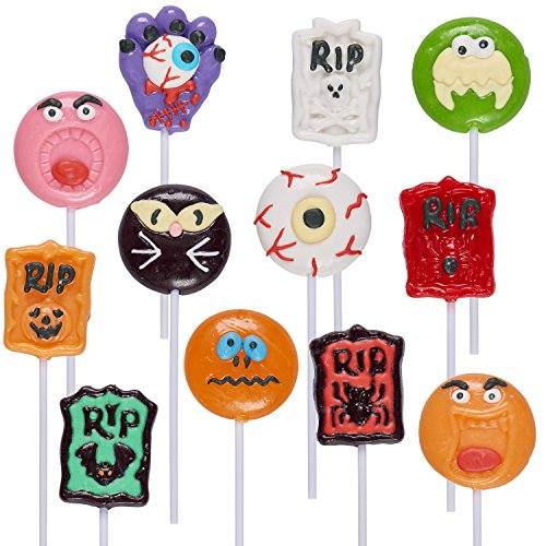 Prextex Halloween Themed Lollipops (12 Pack) Great for Halloween Goody Bags or Halloween Candy ()