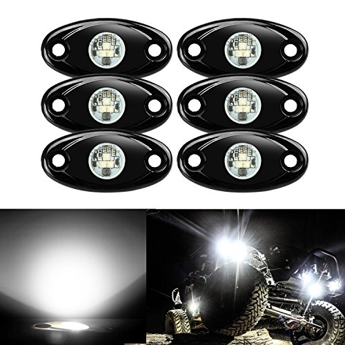 - 6 Pods LED Rock Lights, Ampper Waterproof LED Neon Underglow Light for Car Truck ATV UTV SUV Jeep Offroad Boat Underbody Glow Trail Rig Lamp (White)