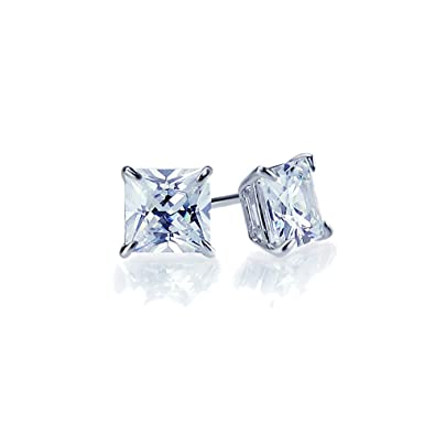 184d8d4db 14K Gold or White Gold Square Princess Cut Cubic Zirconia CZ Solitaire  Screwback Stud Earrings (