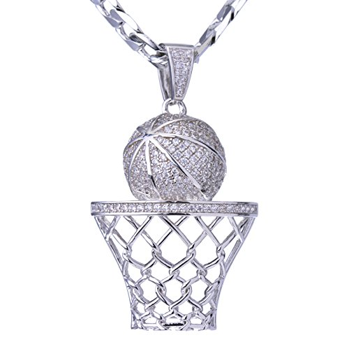 metaltree98 Luxury Iced Out Silver Plated Basketball Rim Pendant Cuban Linked Necklace Set BCH 1050 S