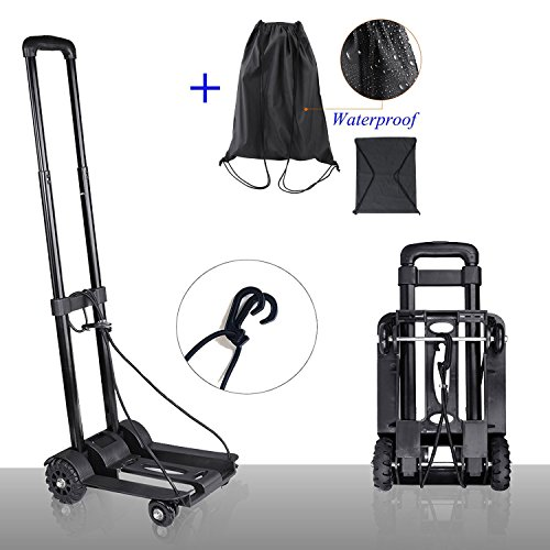 GEROWA-Folding-Hand-Truck-4-Wheels-150-lbs-Capacity-Foldable-Hand-Cart-Suitable-for-Shopping-and-Travel
