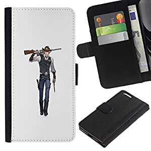 KLONGSHOP // Tirón de la caja Cartera de cuero con ranuras para tarjetas - Arte del animado del vaquero arma de combate de la historieta - Apple Iphone 6 PLUS 5.5 //