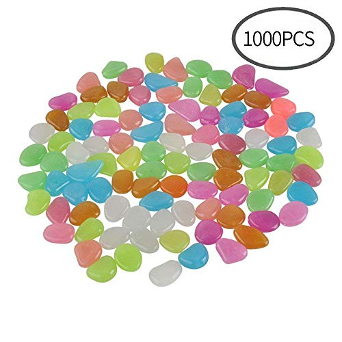 (CFKJ [1000 Pcs 5lb] Glow in The Dark Stones,Fish Tank Aquarium Decoration Gravel Rocks,Garden Glowing Pebbles Luminous Stones for Outdoor,Yard Grass,Walkway,Backyard Driveway Décor)