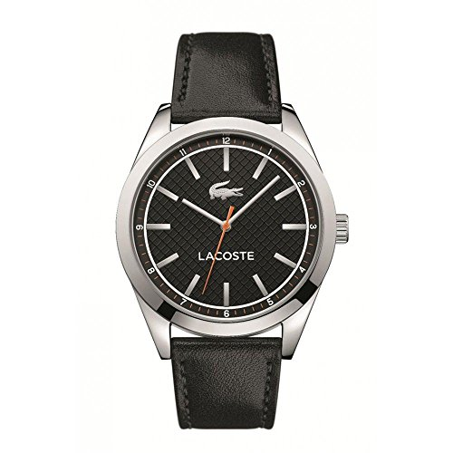 Lacoste Men's 43mm Black Leather Band Steel Case Quartz Analog Watch 2010888