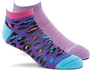 Fox River Women's Cheetah Scrubs Low-Cut Lightweight Cushioned Socks (2 Pack), Assorted Purple, Medium