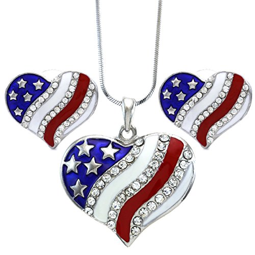 Patriotic Jewelry (USA American Flag Heart Patriotic 4th of July Independence Day Pendant Necklace & Dangle Earrings Set (Stud - Slvr))