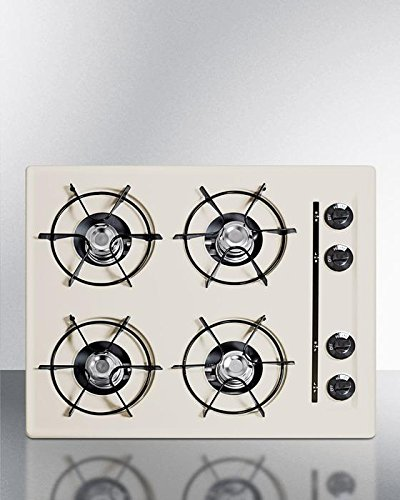 - Summit SNL03P 24 Inch Natural Gas Cooktop with 4 Open Burners, in Bisque