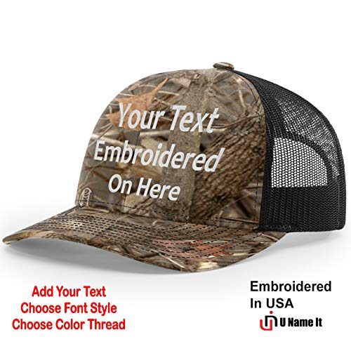 Custom Richardson 112 Hat with Your Text Embroidered Trucker Mesh Snapback Cap (Adjustable Snapback Realtree Colorway, Kings Woodland -