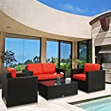 Kinbor New 4 PCs Black Rattan Patio Outdoor Furniture Set Garden Lawn Sofa Sectional Set, Orange Cushion