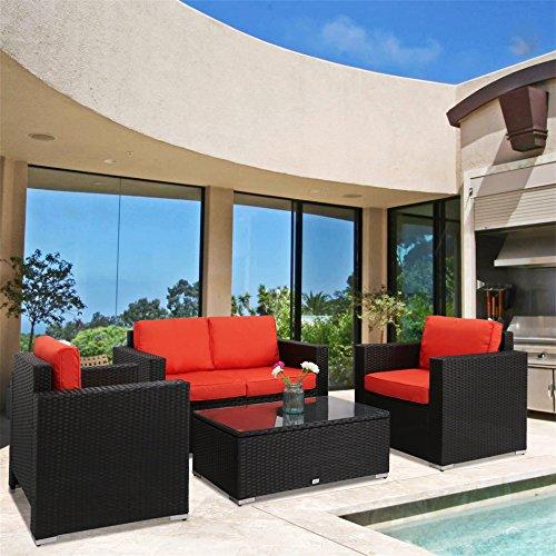 Kinbor New 4 PCs Black Rattan Patio Outdoor Furniture Set Garden Lawn Sofa Sectional Set, Orange Cushion (Garden Orange Furniture)