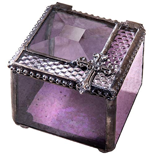 - J Devlin Glass Art Box 349 Series Stained Glass Jewelry Keepsake Box with Christian Cross for Baptism, Christening, First Communion or Confirmation Gift Rosary Box (C-Purple)