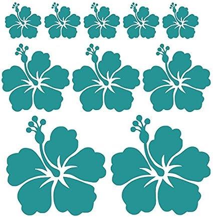 T/ürkis Glanz Autoaufkleber oder Wandtattoo Hibiskus Blumen Set mit 10 Blumen in verschiedenen Farben