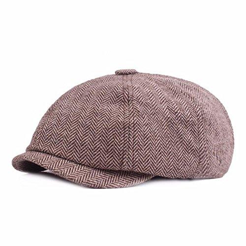 - 2018 New Tweed Gatsby Newsboy Cap Men Autumn Winter Hat for Men Golf Driving Flat Cap Unisex Berets Hat Coffee