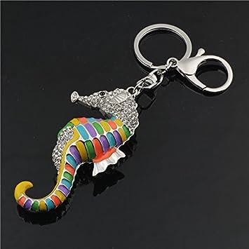 Amazon.com: Colorful caballo de mar clave Cadena Llavero Key ...