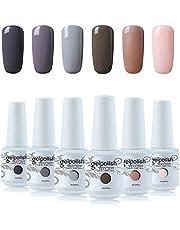 Vishine Nail Gel Polish Kit 6pcs UV LED Soak off Gel Nail Polish High Gloss Nail Art Manicure Gift Set