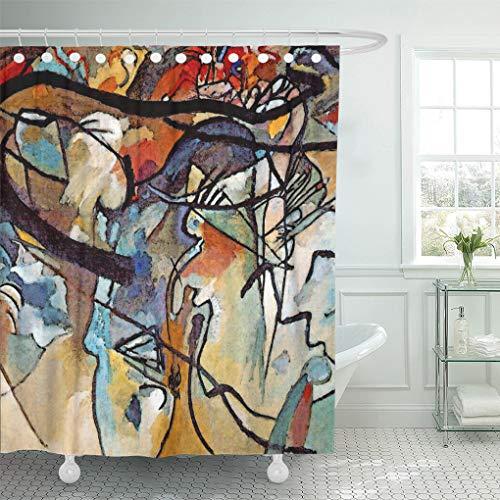 Kandinsky Modern Painting - Semtomn Shower Curtain Oil Kandinsky Composition Five Abstract Modern Painting Music 66