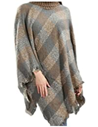 ainr Women's Poncho Sweater Winter Thick Knitted Warm Plaid Pullover Capes