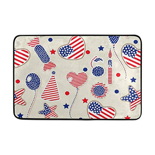 (Love Heart Candy Balloon USA Flag Print Bath Mat Non Slip Memory Foam Door Mat Bathroom Rugs Carpet for Inside Outdoor 15.7 x 23.6 in )