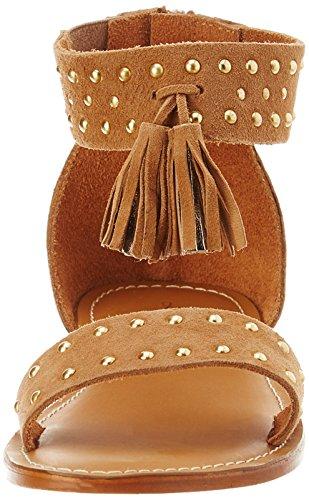 L'ATELIER TROPEZIEN Sandale Clou Pompom - Sandalias de Gladiador Mujer Marron (Tan Suede)