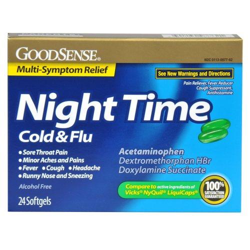 Sens de nuit Rhume et grippe Multi-Symptom Relief gélule, 24 Count