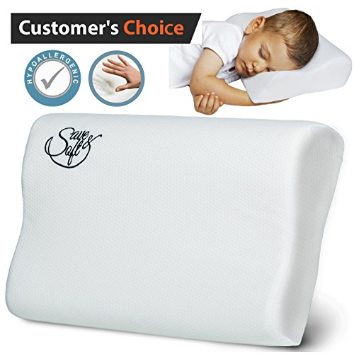 SaveSoft-Toddler-Memory-Foam-Pillow-Cervical-Support-Pillow-Neck-Pain-Bed-Orthopedic-Sleeping-Pillow-for-Women-Kids-FREE-Hypoallergenic-Cover