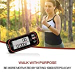 LEAP 3D Walking Pedometer Clip on with Strap, Week 7 Days Memory, Accurate Step Counter for Walking and Miles, Walking Distance, Carlorie Tracker Removalble Clip,Fitness Daily Target Monitor