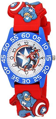 Marvel Boy's 'Captain America' Quartz Plastic Casual Watch, Color:Red (Model: WMA000039)