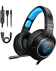 Tenswall Casque Gaming PS4, Casque Gaming pc pour Xbox One, PC, Laptop, Tablette,avec 3.5mm Connecteur, Micro, LED Lumière, Audio Stéréo Basse, Bien Anti-Bruit&Contrôle du Volume-Bleu