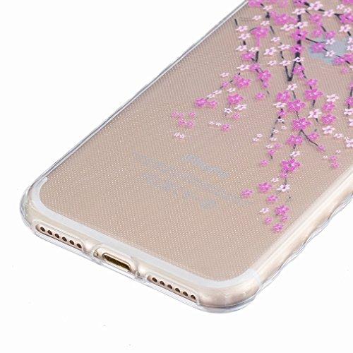 Ougger Apple iPhone 7 Custodia Case, Antigraffio Trasparente Cristallo Durevole Slim Morbido TPU Gomma Silicone Flessibile Protettivo Skin Shell Bumper Rear (Modello 4)