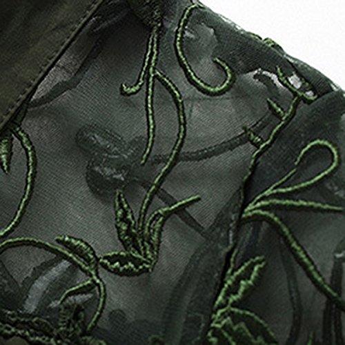Green Il Filato Autunno Netto La Abito Temperamento Camicia Ricamo Moda vUwfq