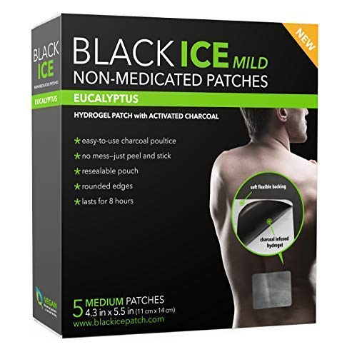 Black Ice Mild - Natural Charcoal Hydrogel Patch, Medium - 5 Count, Eucalyptus Oil Charcoal Poultice Relief for Bug Bites, Joint Pain, Rashes, and Burns (1)