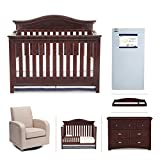 Simmons Kids Augusta 6-Piece Molasses Brown Nursery Furniture Set: Convertible Crib | Daybed/Toddler Guardrail | Dresser | Changing Top | Crib Mattress |Glider